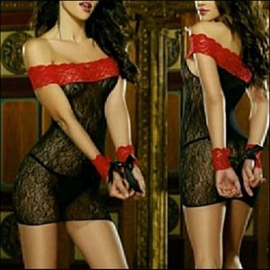 Sexy Black & Red Lace Off Should Lingerie Dress
